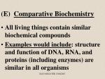 e comparative biochemistry