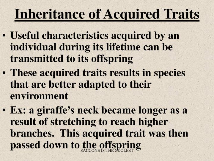 Inheritance of Acquired Traits