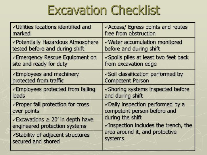 Excavation Checklist