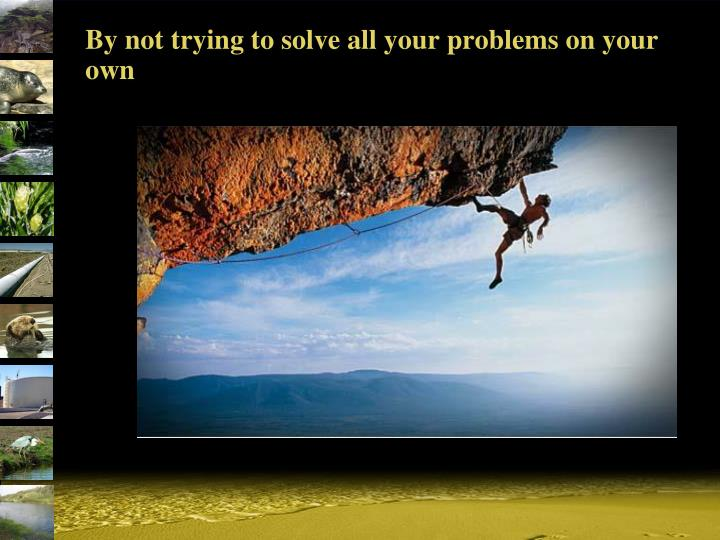 By not trying to solve all your problems on your own