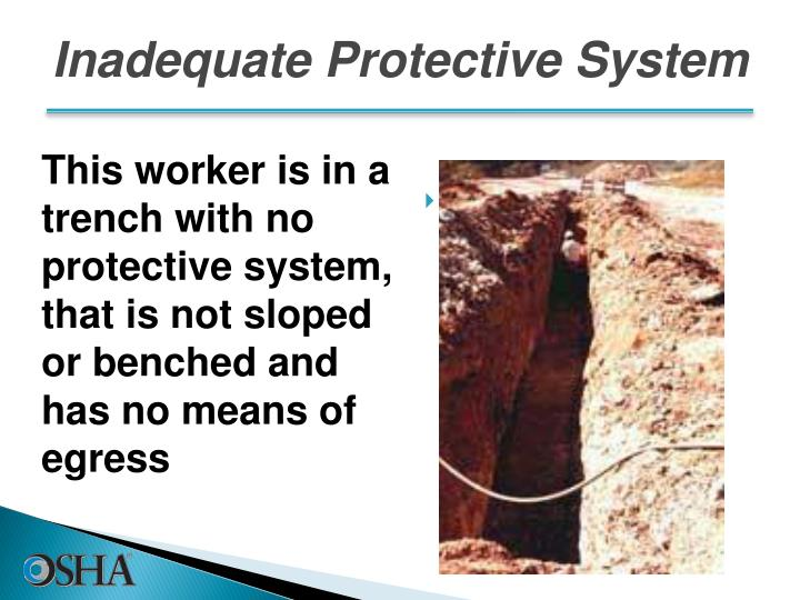 This worker is in a trench with no protective system, that is not sloped or benched and has no means of egress