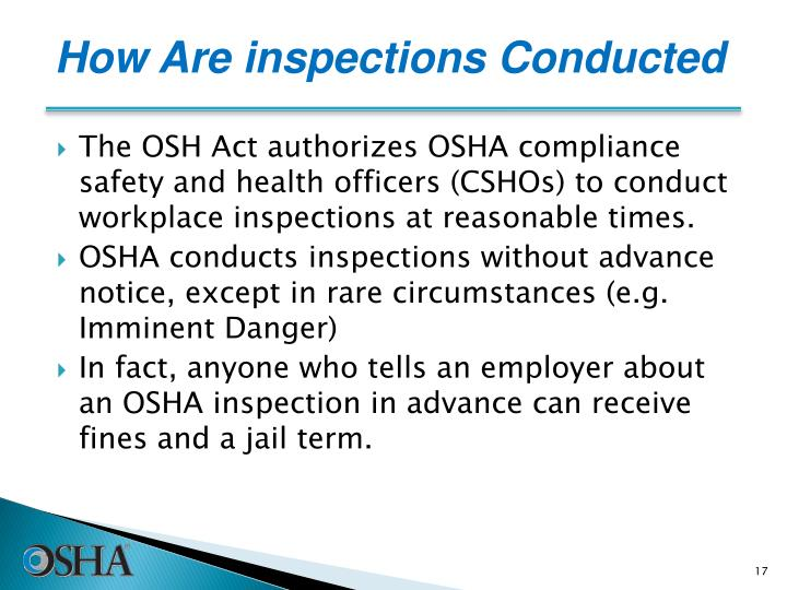 How Are inspections Conducted