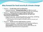 way forward for food security climate change