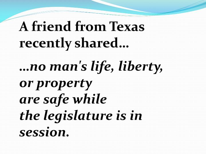 A friend from Texas recently shared…