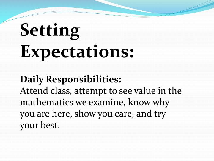 Setting Expectations: