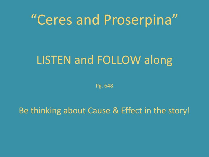 """""""Ceres and Proserpina"""""""