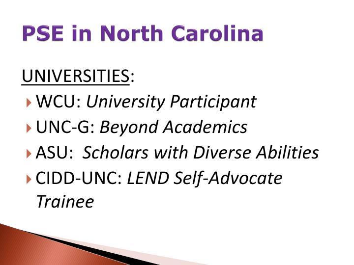PSE in North Carolina