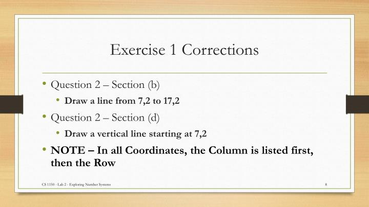 Exercise 1 Corrections