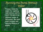 running the pump without water