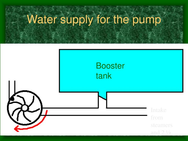 Water supply for the pump