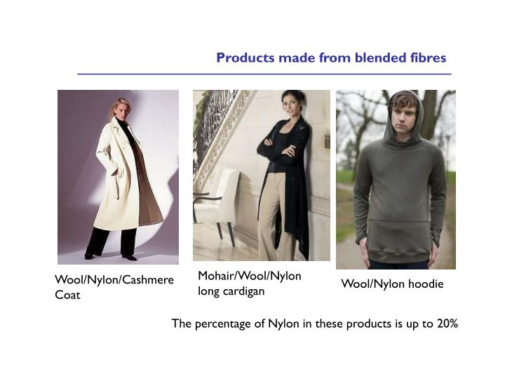 Products made from blended fibres