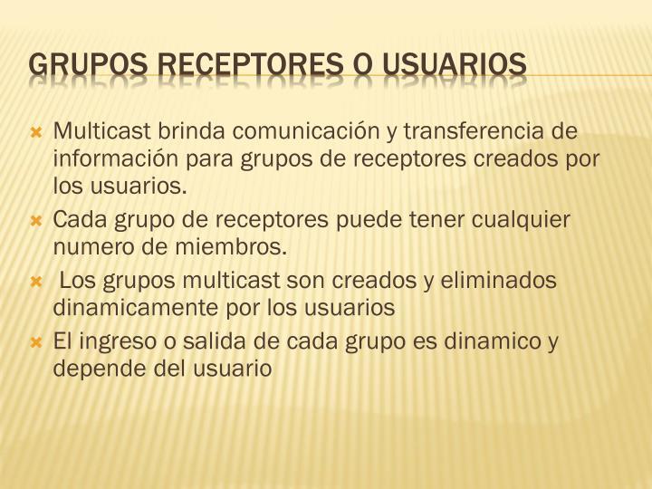 Grupos receptores o usuarios