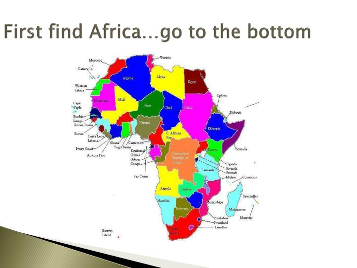 First find africa go to the bottom