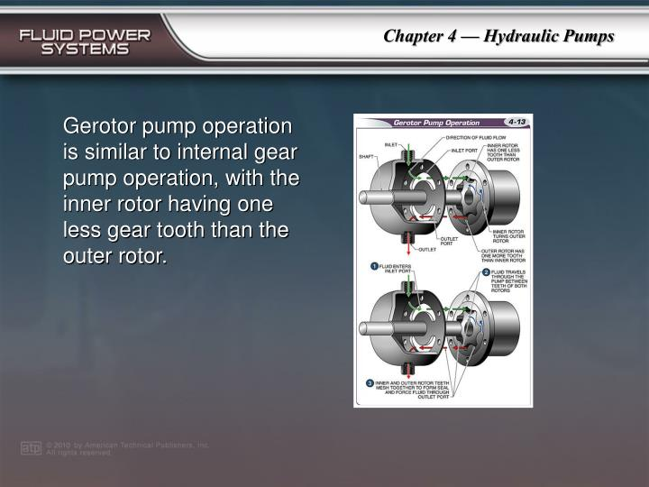 Gerotor pump operation is similar to internal gear pump operation, with the inner rotor having one less gear tooth than the outer rotor.