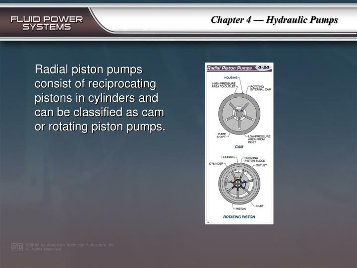 Radial piston pumps consist of reciprocating pistons in cylinders and can be classified as cam or rotating piston pumps.