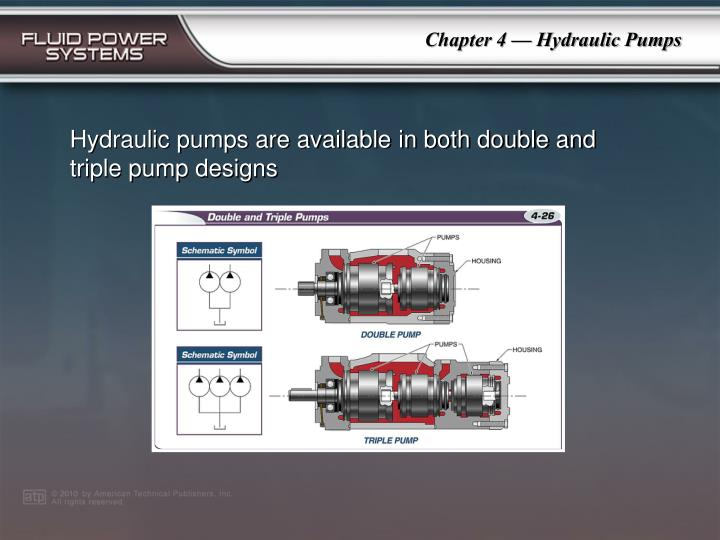 Hydraulic pumps are available in both double and triple pump designs
