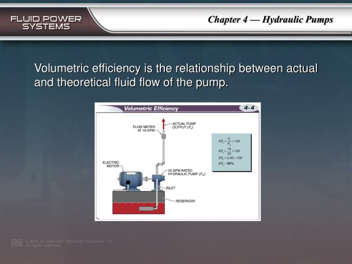 Volumetric efficiency is the relationship between actual and theoretical fluid flow of the pump.