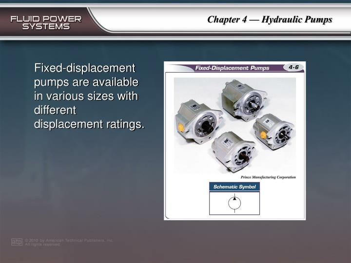 Fixed-displacement pumps are available in various sizes with different displacement ratings.