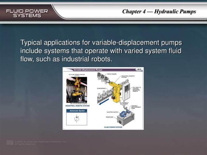 Typical applications for variable-displacement pumps include systems that operate with varied system fluid flow, such as industrial robots.