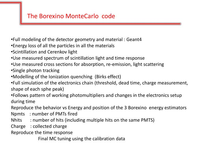 The Borexino MonteCarlo  code
