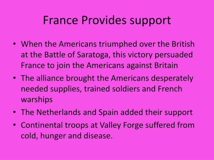 France Provides support