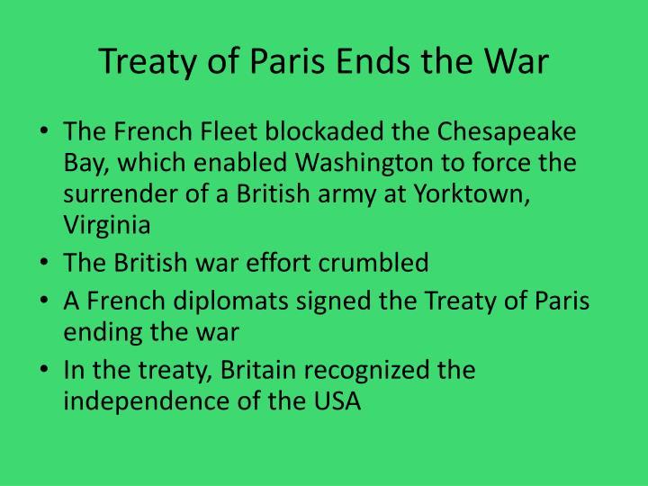 Treaty of Paris Ends the War