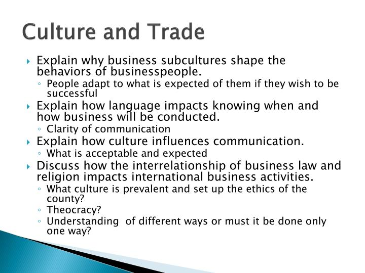Culture and Trade