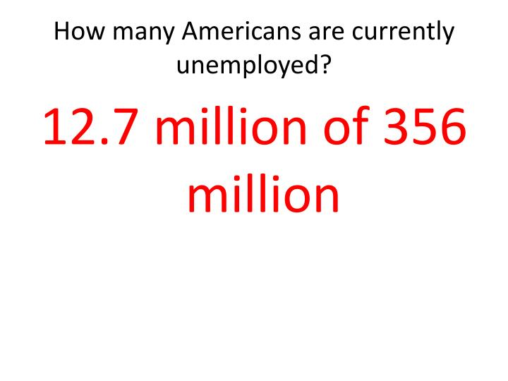 How many Americans are currently unemployed?
