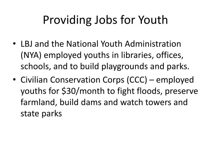 Providing Jobs for Youth