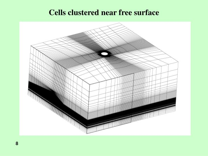 Cells clustered near free surface