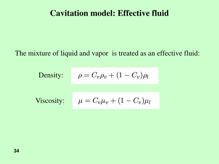 Cavitation model: Effective fluid