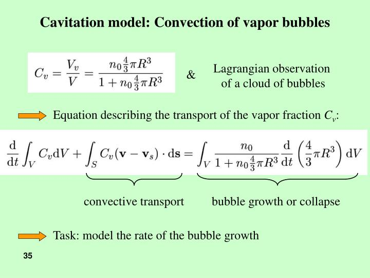 Cavitation model: Convection of vapor bubbles