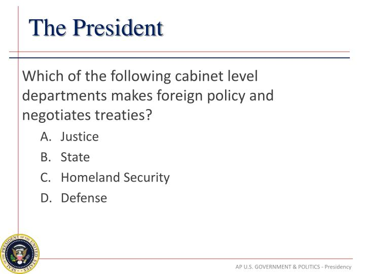 Which of the following cabinet level departments