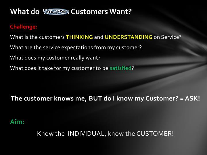 What do  Women Customers Want?