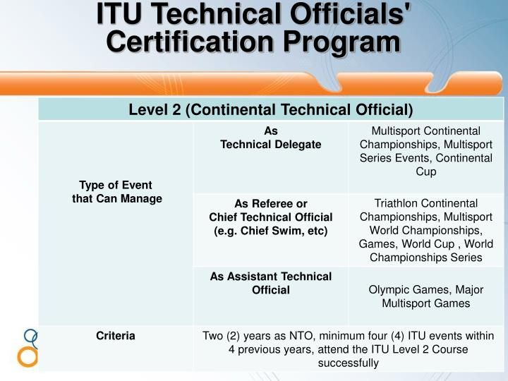ITU Technical Officials'  Certification Program