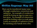 written response may 6th1
