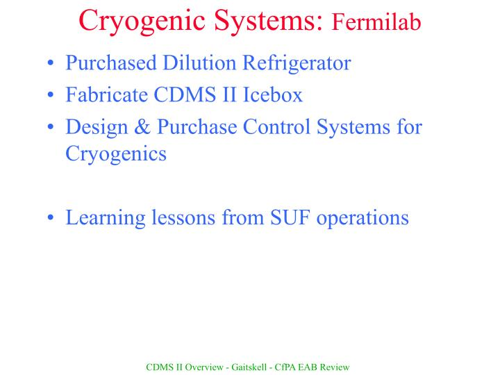 Cryogenic Systems: