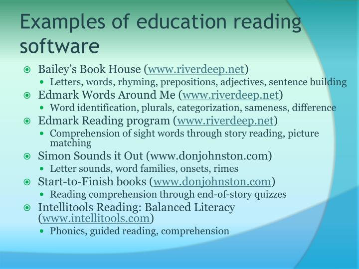 Examples of education reading software