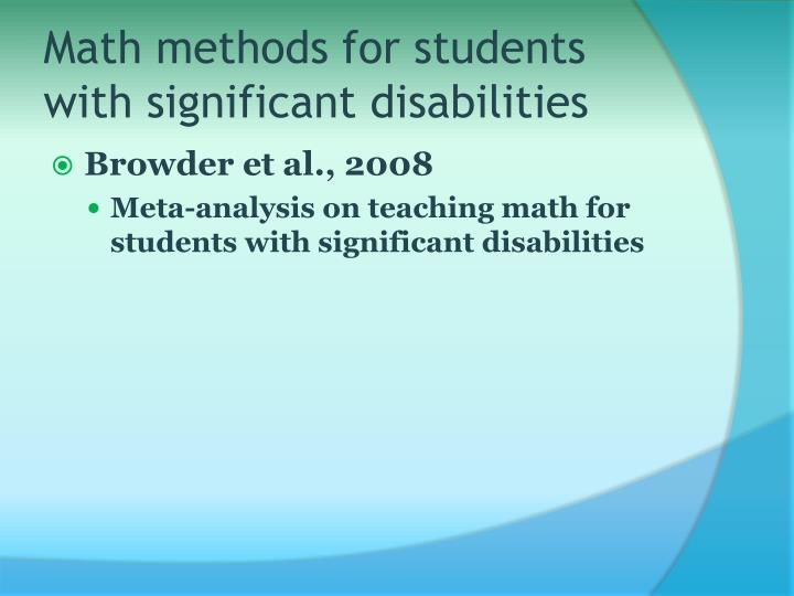 Math methods for students with significant disabilities