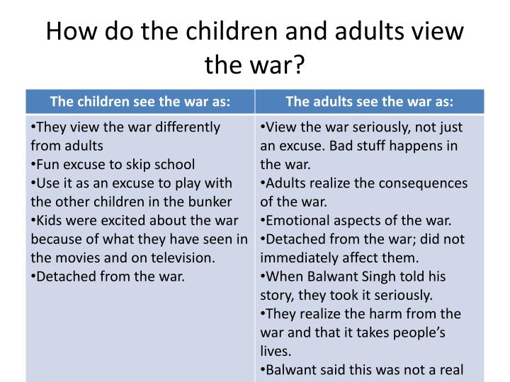 How do the children and adults view the war?
