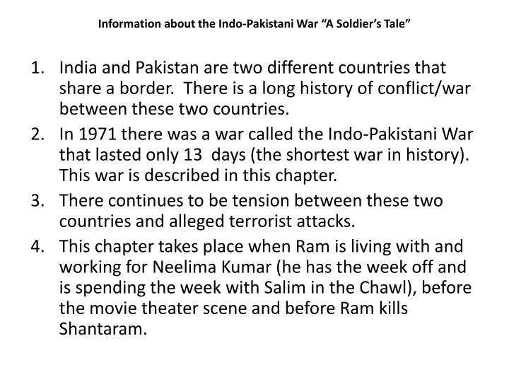 """Information about the Indo-Pakistani War """"A Soldier's Tale"""""""