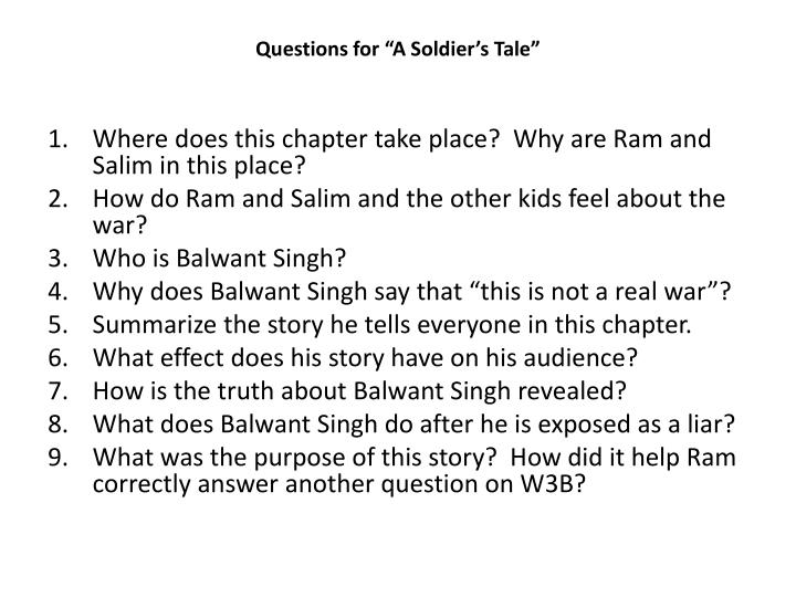 """Questions for """"A Soldier's Tale"""""""