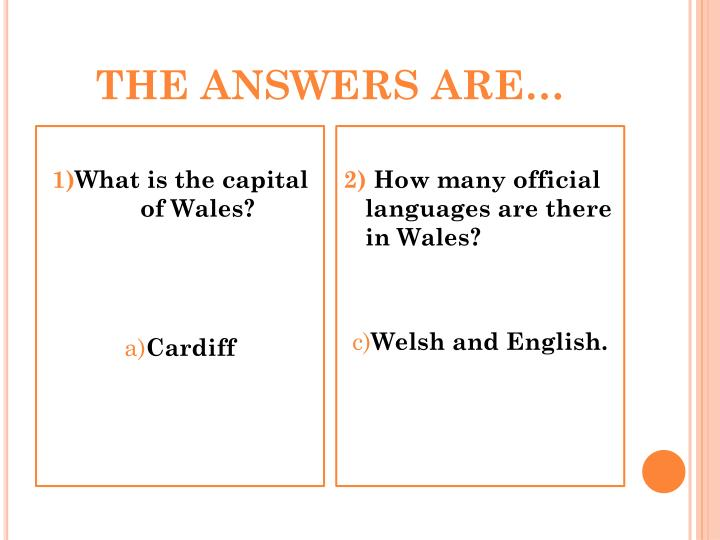 THE ANSWERS ARE…