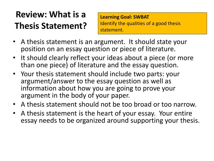 Review: What is a Thesis Statement?