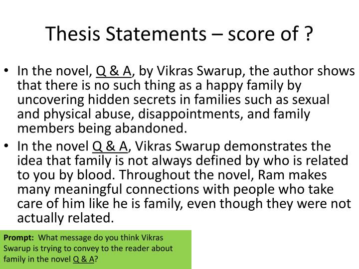 Thesis Statements – score of ?