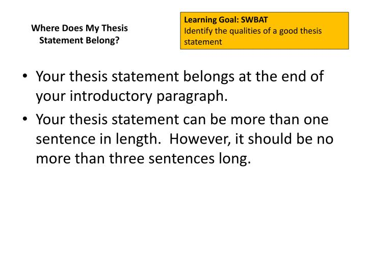 Where Does My Thesis Statement Belong?