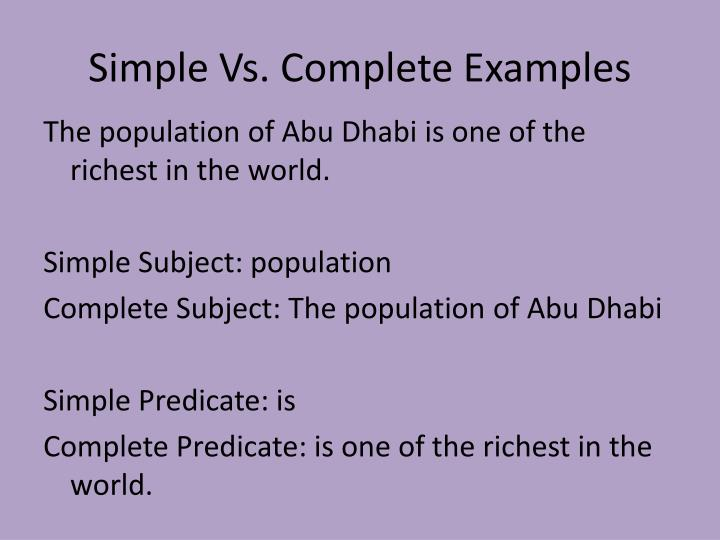 Simple Vs. Complete Examples
