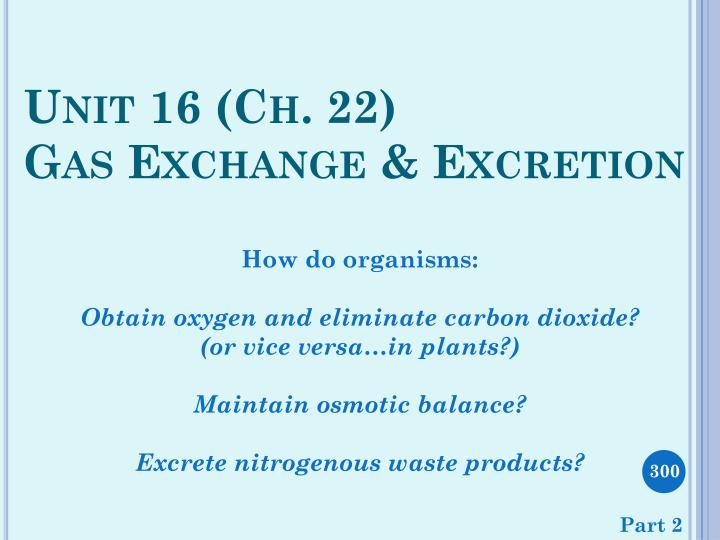 unit 16 ch 22 gas exchange excretion
