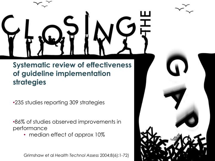 Systematic review of effectiveness of guideline implementation strategies