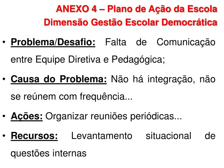 ANEXO 4 – Plano de Ação da Escola